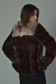 brown mink fur coat with crystal fox fur collar back view