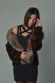 women's brown mink fur coat with crystal fox fur collar