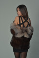 Mahogany Mink Fur Coat Crystal Fox Collar