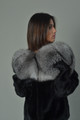 Black Mink Fur Coat Silver Fox Fur Collar