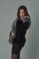 Black Mink Fur Coat Silver Fox Fur Collar
