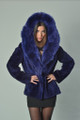 blue beaver fur coat with hood