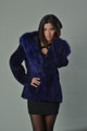 Blue Sheared Beaver Fur Coat Hooded Fox Trim