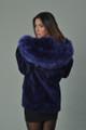 Blue Sheared Beaver Fur Coat Hooded Fox Trim