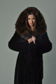 Black Mink Fur Coat  sable Cobra  Hood
