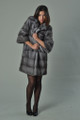 sapphire mink fur coat with cropped sleeves  knee length pelts sewn across