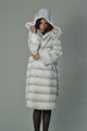 hooded white rex fur coat