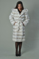 White Rex Fur Coat Hood and Belt
