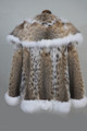 lynx fur coat  hip length on ghost mannequin , rear view , spruced up with white fox fur trim