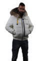 men's fur lined winter coat with hood and zipper closure