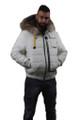 men's fur lined winter coat with hood and zipper closure