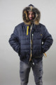 Blue  Hooded Fox Fur Lined Men's Parka