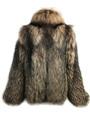 Brown Unisex Fox Fur  Bomber Jacket