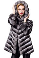 chinchilla fur coat on blonde model with hood on