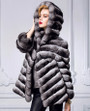 chinchilla coat hooded , diagonal stitching , hip length