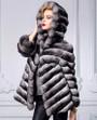 chinchilla coat hooded , diagonal stitching , hip length