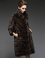 Panelled Mink  Coat  Knee Length