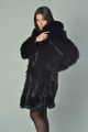 Black Fox Fur Coat K with shawl collar knee Length side view