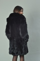 Luscious Black Fox Fur Coat Knee Length rear view