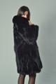 Luscious Black Fox Fur Coat Knee Length on brunette model