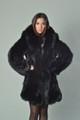 black fox fur coat with shawl collar knee length