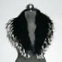 Black Fox Fur Collar Silver Tips Women's