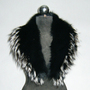 Black Fox Fur  Shawl Collar Silver Tips Women's