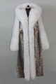 Full Length Lynx Fur Coat with fox  hood waterfall hem and fox sleeves front view
