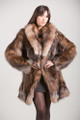 Crystal Fox Fur Coat with shawl collar fit in waist knee length