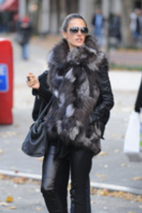 Alessandra Ambrosio in High Fashion Silver Fox Fur Vest