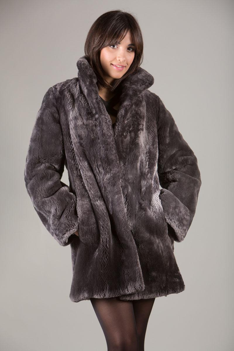 4cd7448014469 ... Gray Sheared Beaver Fur Coat mid hip length