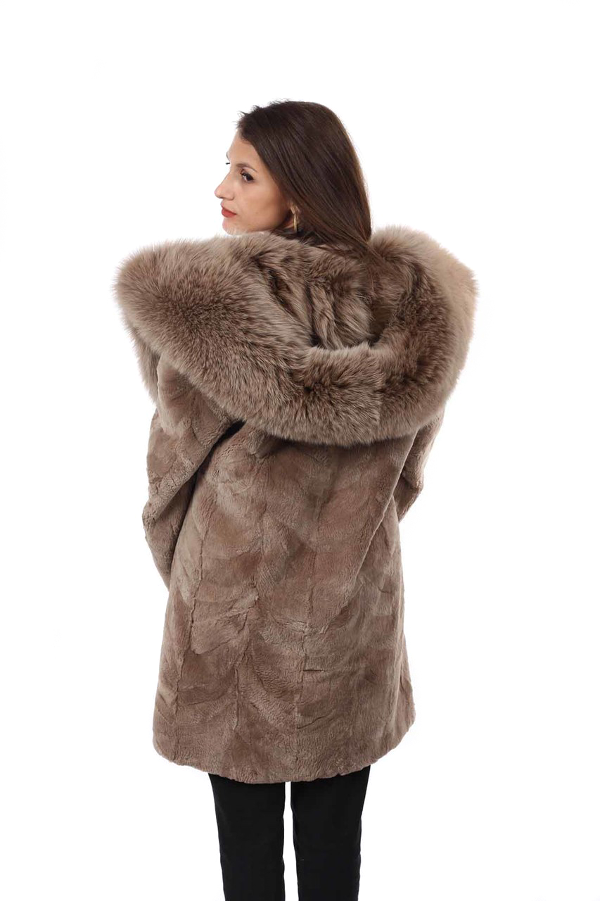 b6720db74 ... Light Brown Sheared Beaver Fur Coat Hooded with Fox Lining back view