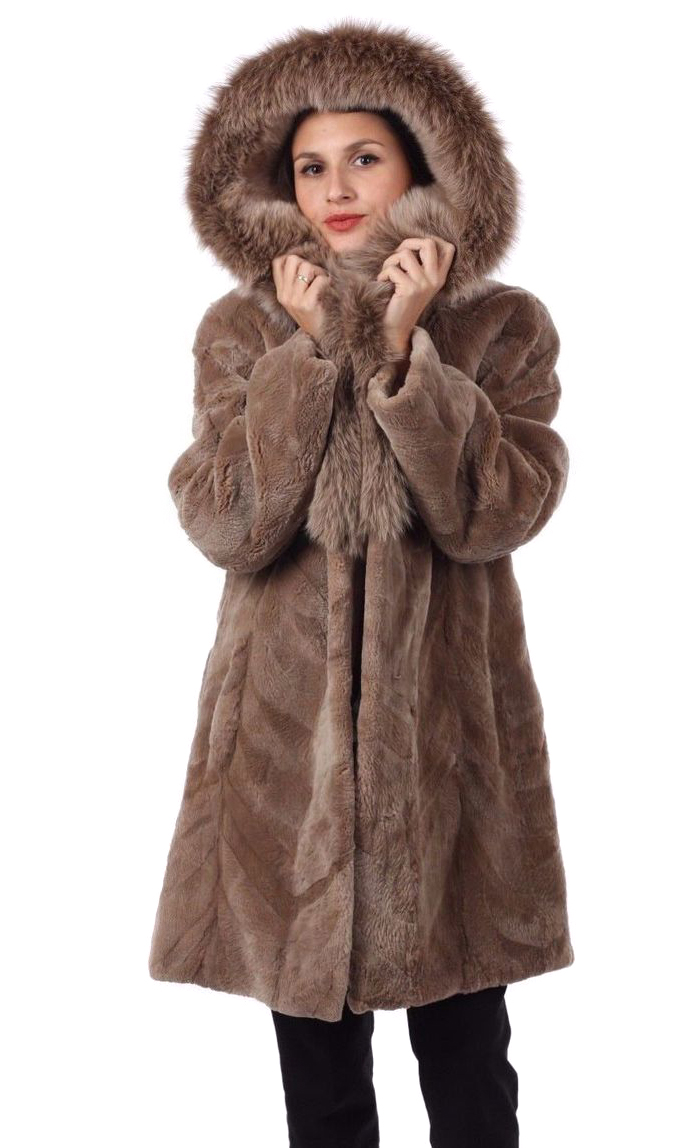 9474bdef7 ... Light Brown Sheared Beaver Fur Coat Hooded with Fox Lining
