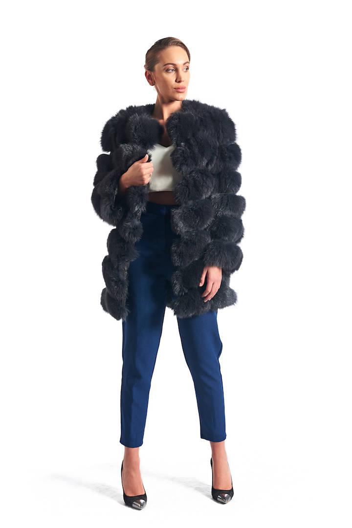 ed8997568 Gray Fox Fur Coat Collarless   SKANDINAVIK FUR