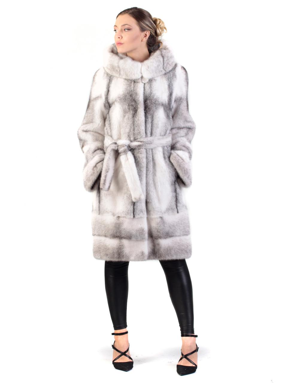 5c311a7e1bfb Black Cross Hooded Mink Fur Coat