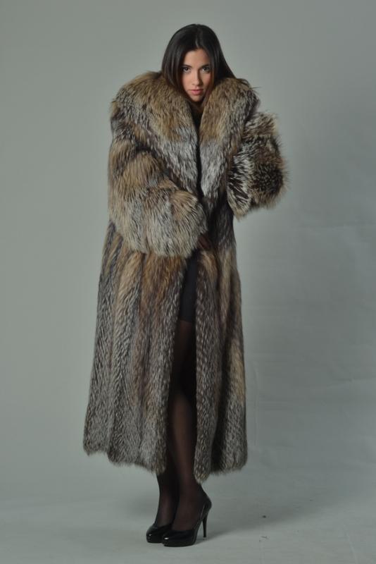 f4ec43af9 Full Length Crystal Fox Fur Coat Hooded