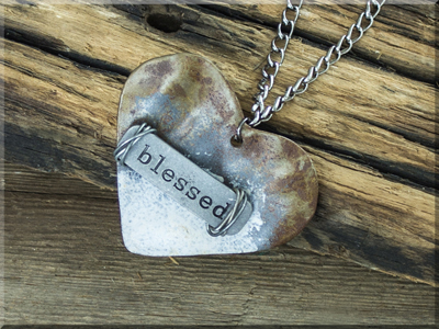 E170047 Blessed Wide Heart Necklace