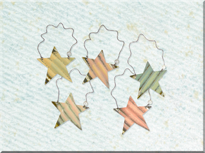 E170103 Small Metal Painted Wide Star Ornament Set (5A)