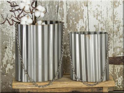 E17051 Small Oval Wavy Metal Bucket Set (2A)