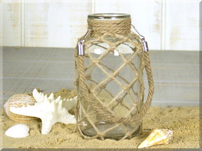 E17458 Small Lantern w/Jute Netting