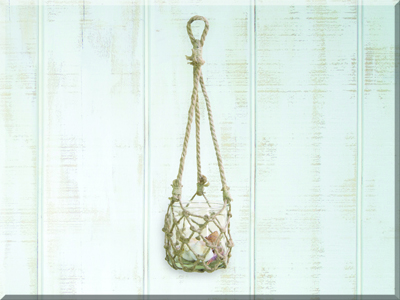 E17461 Small Hanging Glass w/Jute Netting