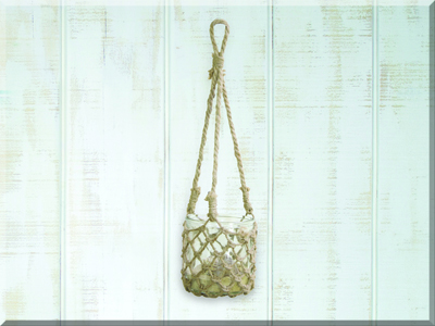 E17462 Medium Hanging Glass w/Jute Netting