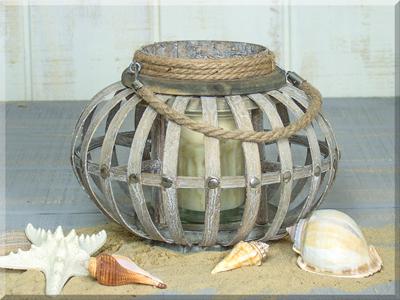 E17478 Large Round Wooden Lantern