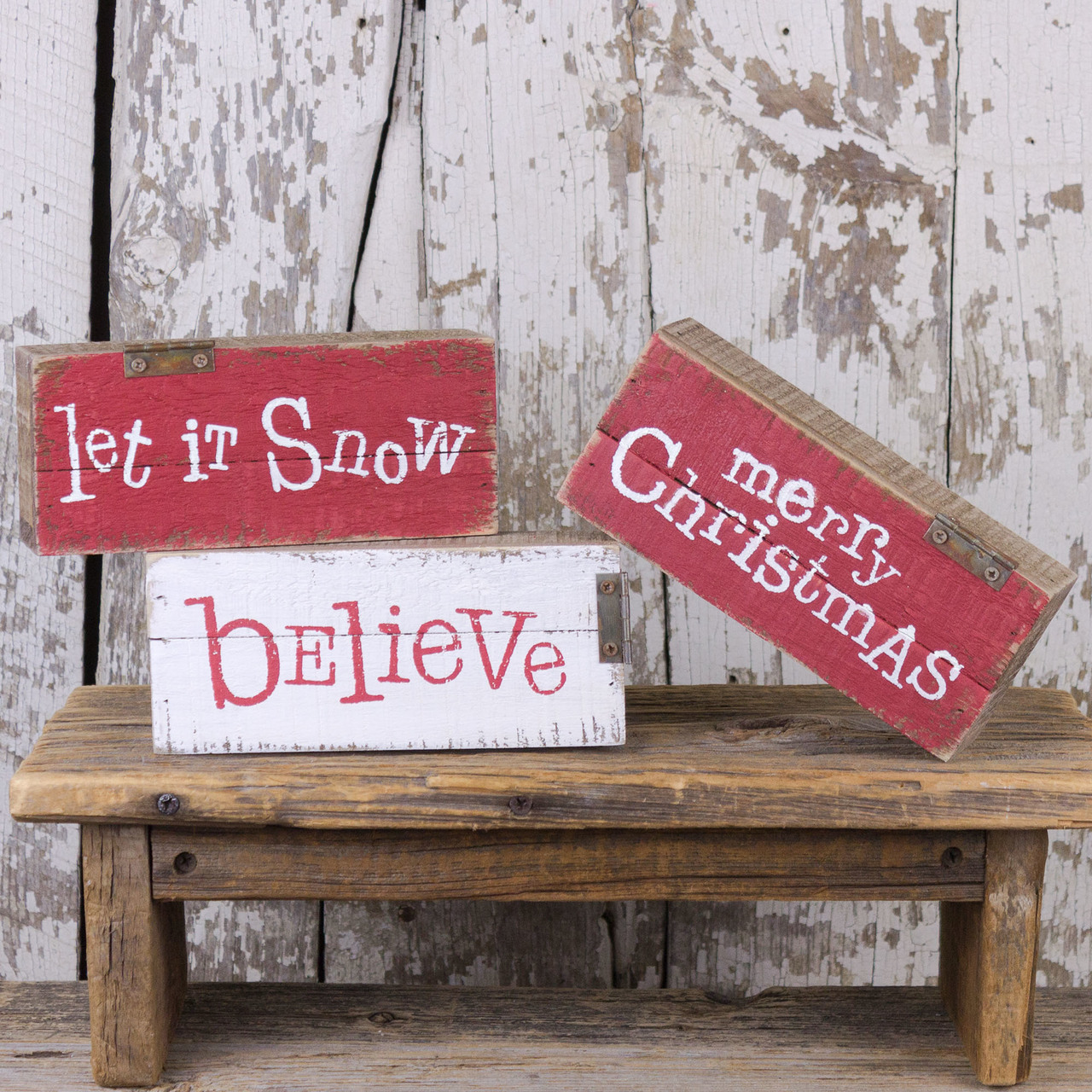 C18386 Small Salvage Christmas Pallet Sign Set (3A)