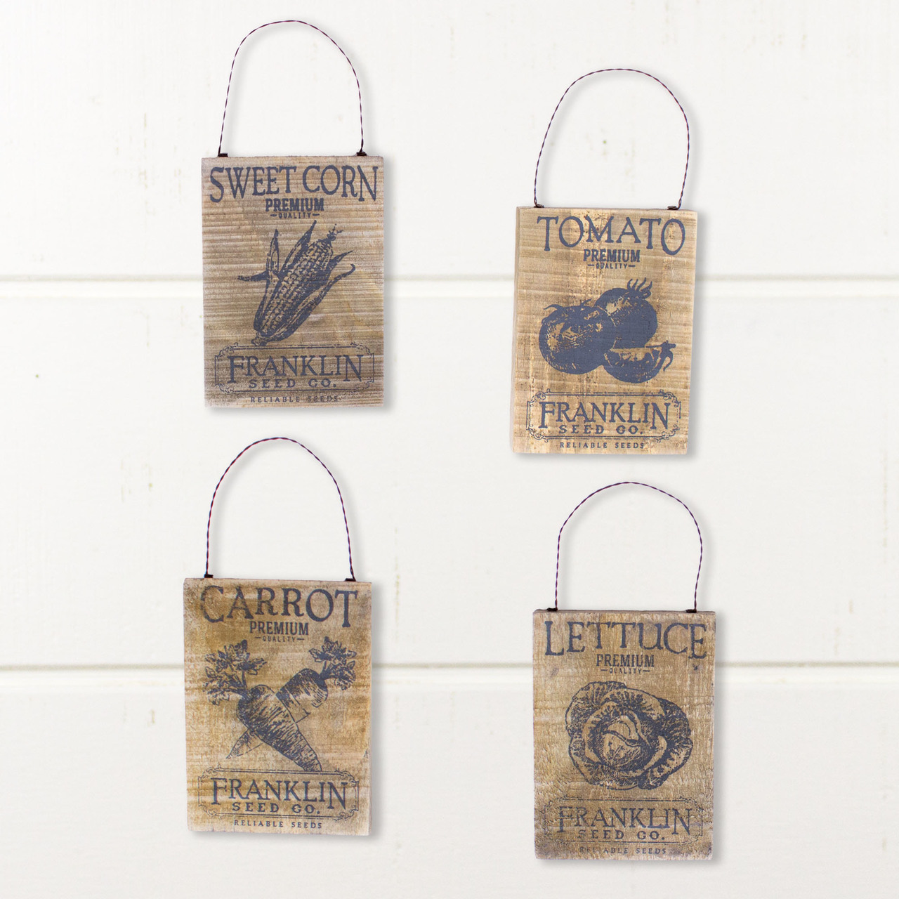 E18008 Small Vegetable Seed Packet Ornament Set (4A)