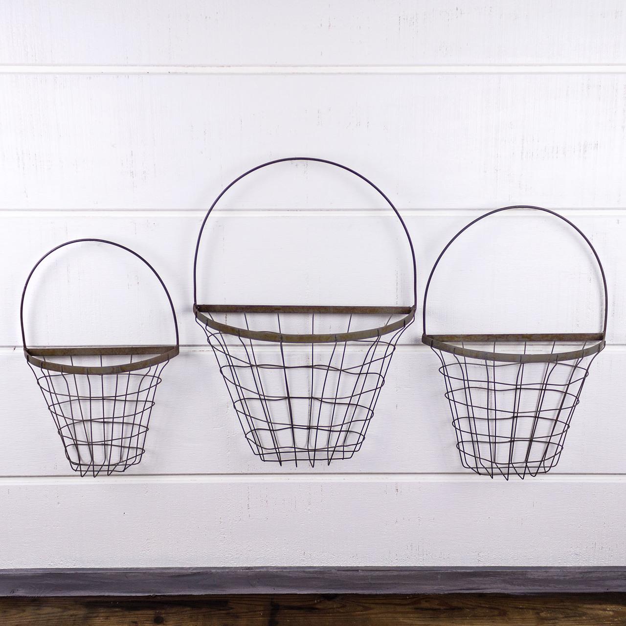 E18110 Antique Sliver Hanging Flower Basket Set (3A)