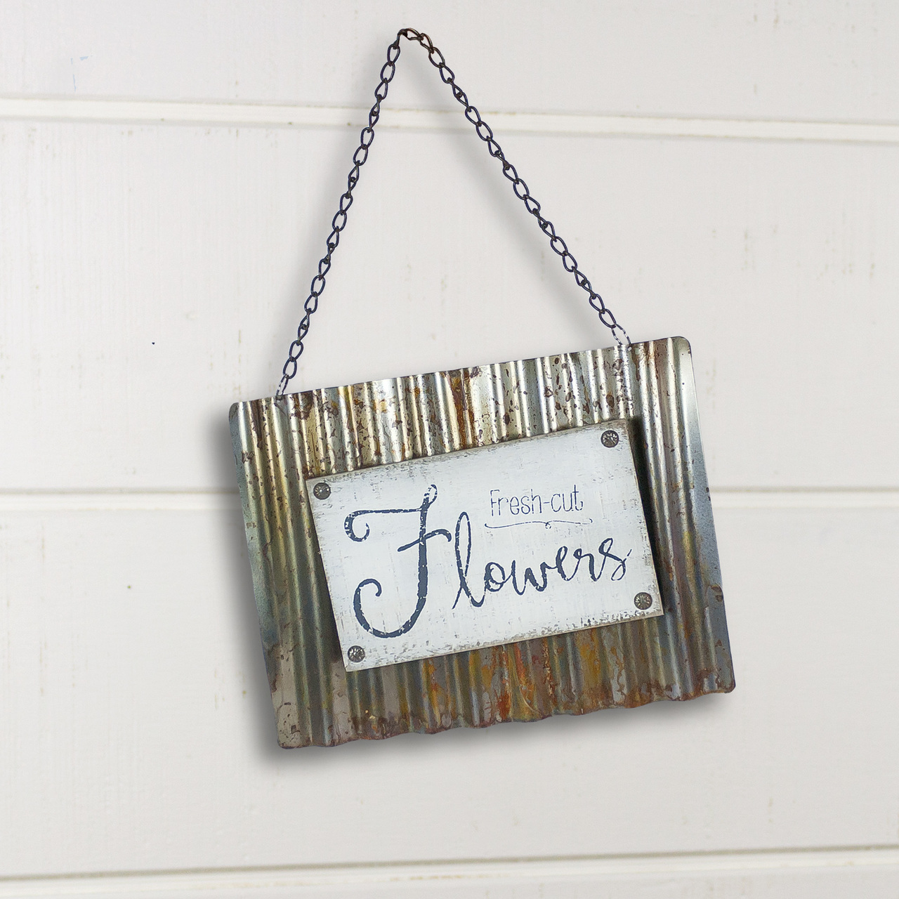 E18424 Flowers Wavy Metal Sign