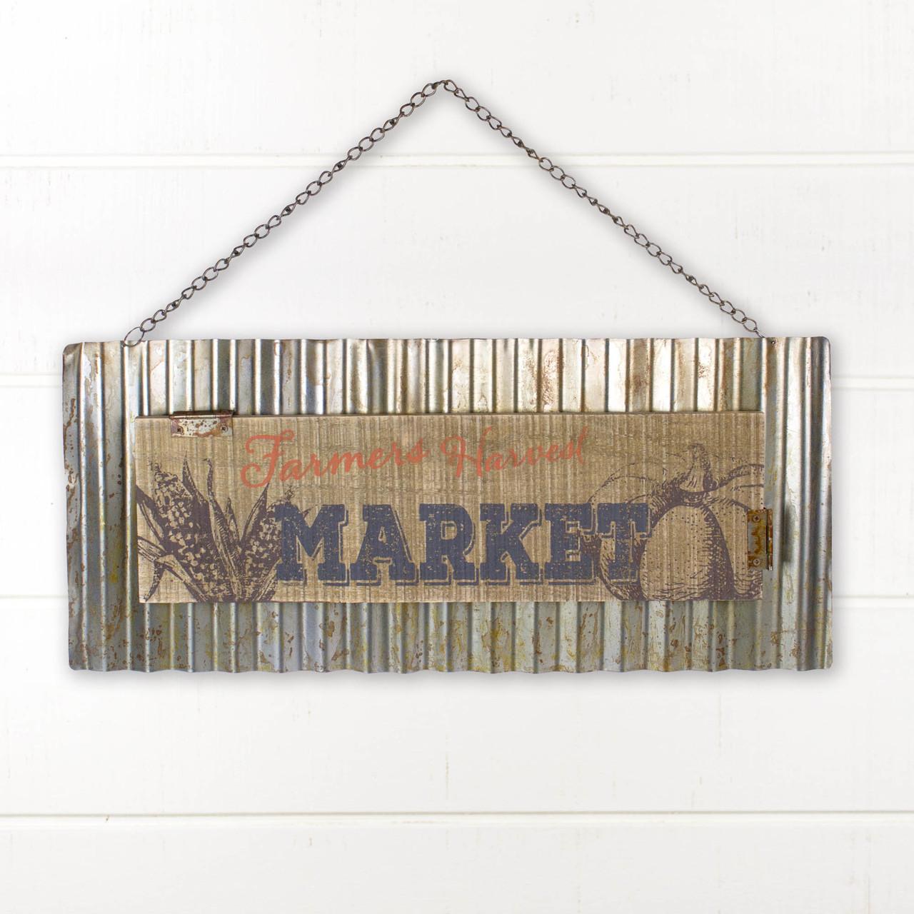 F18525 Farmers Harvest Market Wavy Metal Sign