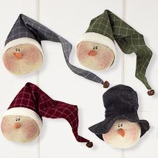 C19689 Small Whimsical Snowman Head Ornament Set (4A)