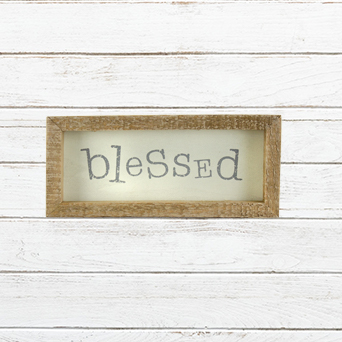 E19280 Small Blessed Wooden Framed Sign